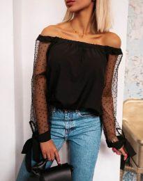 Черна блуза с паднало ластично деколте и тюлени ръкави - код 114