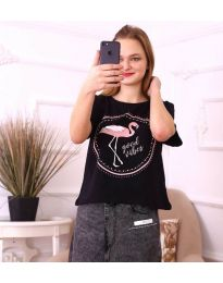 Черна дамска тениска с принт фламинго - код 3546