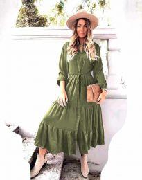 Дамска рокля в масленозелено - код 6522