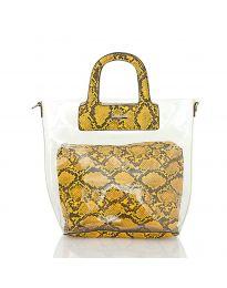Дамска чанта със змийски десен в жълто - код DD-570
