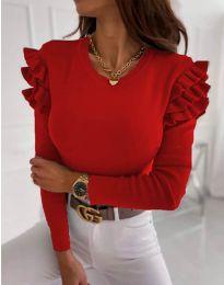 Дамска блуза в червено с къдрички - код 1653