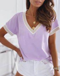 Дамска блуза с къс ръкав в лилаво - код 6863