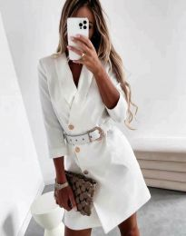Стилна дамска рокля в бяло - код 9257