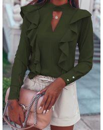 Елегантна блуза в маслено зелено - код 7715