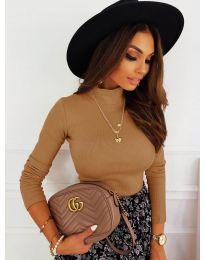 Дамска блуза с поло яка кафяво - код 7071