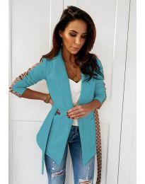 Дамско елегантно сако в цвят  тюркоаз - код 6023