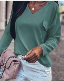 Дамска блуза в цвят тюркоаз - код 0802