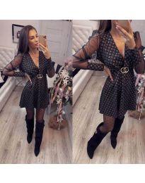 Стилна рокля с ефектен десен в черен цвят - код 772 - 2