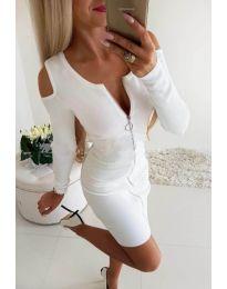 Бяла рокля с голи рамена и цип в предната част - код 2848