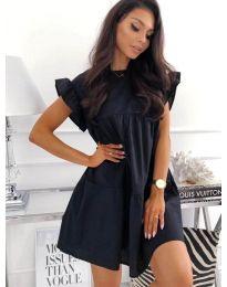 Разкроена рокля в черен цвят - код 3145