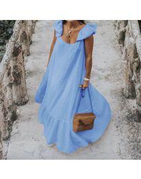 Свободна дълга рокля в светло синьо - код 9036