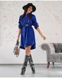 Дамска рокля в тъмно синьо - код 9601