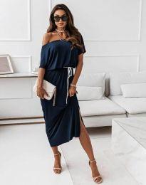Атрактивна дълга рокля в тъмносиньо - код 11973