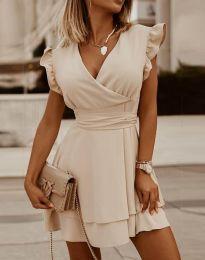Ефирна дамска рокля в бежово - код 5654