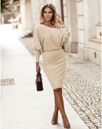 Елегантна дамска рокля в бежово - код 2242