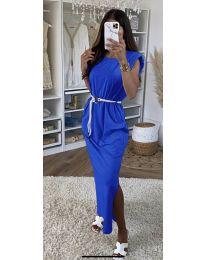 Дълга дамска рокля в тъмно синьо - код 7049