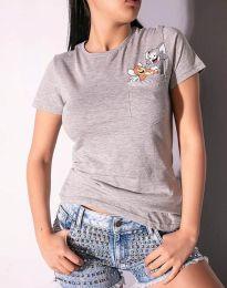 Дамска тениска в сиво с анимация - 2447