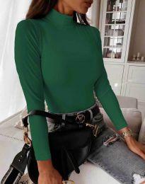 Дамска блуза с поло яка в тъмнозелено - код 6087