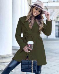 Дамско палто в масленозелено - код 4973