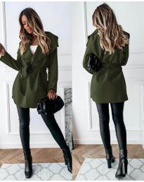 Дамско палто с колан в маслено зелено - код 643