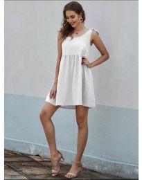 Изчистена рокля в бяло - код 2255