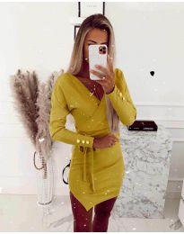 Дамска рокля в жълто - код 2077