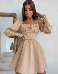 Стилна дамска рокля в бежово - код 8150