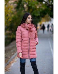 Дамско зимно яке с пухена яка в цвят пудра - код 6033