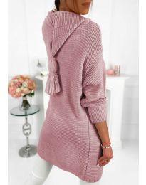 Плетена жилетка в цвят пудра - код 998