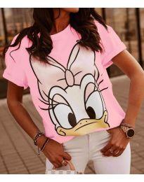 Тениска с принт в розово - код 4088