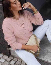 Плетен дамски пуловер в цвят пудра - код 1620