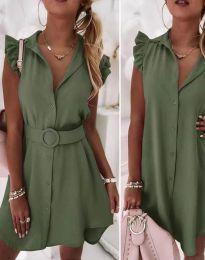 Дамска рокля с колан в масленозелено - код 7411