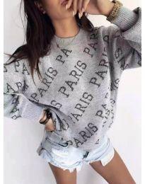 Топла дамска блуза в сиво PARIS - код 293