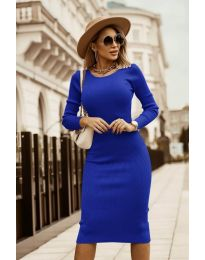 Дамска рокля в тъмно синьо - код 8485