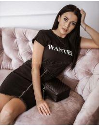 Черна дамска тениска WANTED - код 983