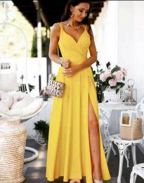 Елегантна дълга рокля в жълто - код 8489