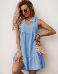 Свободна къса рокля в светлосиньо - код 7206