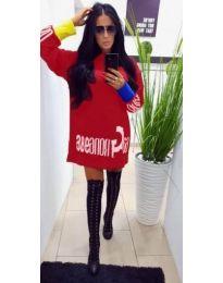Червена спортна рокля с дълги ръкави - код 294