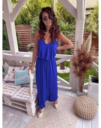 Дълга дамска рокля в синьо - код 635