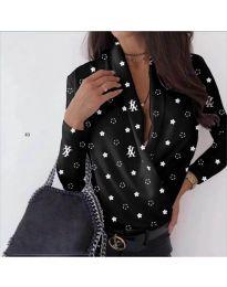 Стилна дамска риза-боди в черно с бели звездички - код 649