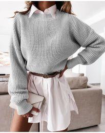 Дамски пуловер в сиво - код 4180