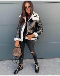 Дамско яке в черно с бял пух - код 2610