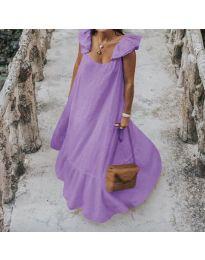 Свободна дълга рокля в лилаво - код 9036