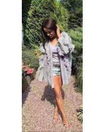 Плетена дамска жилетка с ресни в сиво - код 242