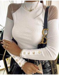 Дамска блуза с ефектни ръкави в бяло - код 2771