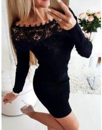 Елегантна рокля с дантелено лодка деколте в черно - код 395