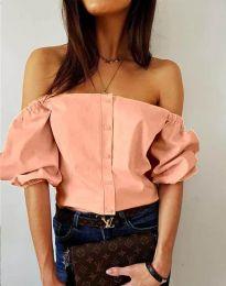 Екстравагантна дамска риза в цвят праскова - код 3525