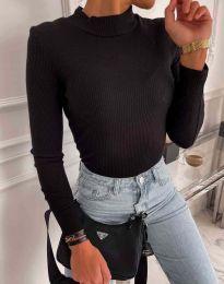 Блуза с поло яка в черно - код 0688