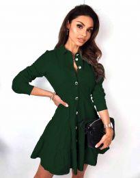 Атрактивна дамска рокля в тъмнозелено - код 3852