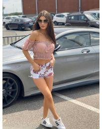 Дамска блуза с голи рамене в розово - код 1162